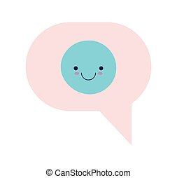 Communication bubble with happy face vector design