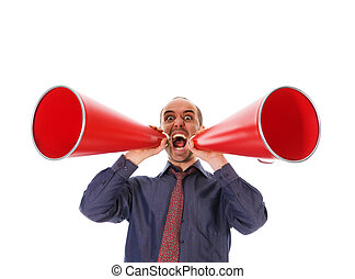 Communication - business man holding a red megaphone on...