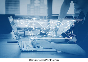 communication business person working on computer social media etwork connection concept in blue tone, Elements of this image furnished by NASA