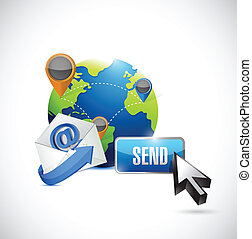 communication, button., envoyer, nous contacter, email