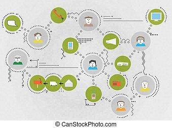 communication, carte, gens