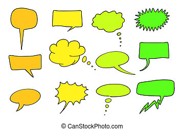 Cartoon communication speech bubbles set. Chat and thought illustration collection.