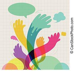 communication, coloré, mains