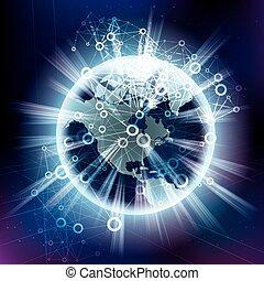communication, concept., global, arrière-plan., technologie, résumé