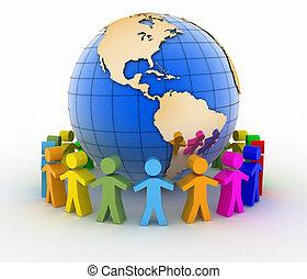 communication, concept., global, mondiale, association