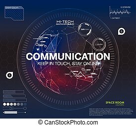 "Communication concept in HUD style. The word ""communication"" HUD design with speech. Absrtract vector illustration. For infographic elements, futuristic user interface HUD"
