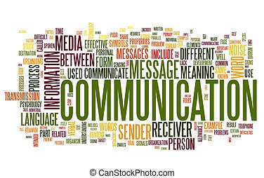 Communication concept in word tag cloud isolated on white...