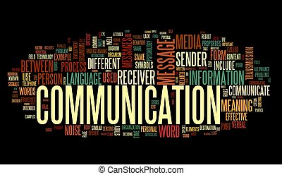 Communication concept in word tag cloud isolated on black ...