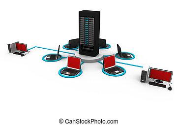 communication, concept, réseau informatique, internet