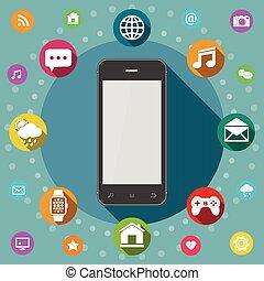 Communication concept. Smart phone flat design.