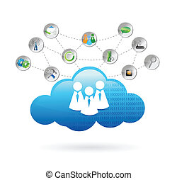 communication, conception, nuage, illustration