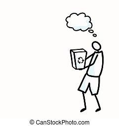 communication., concetto, motivo, bastone, rifiuti, persona, giorno, vettore, pensiero, terra, ambientale, pulito, mano, eps, illustration., disegnato, &, figura, icona, raccolta, comico, bubble., clipart, 10, su, volontario
