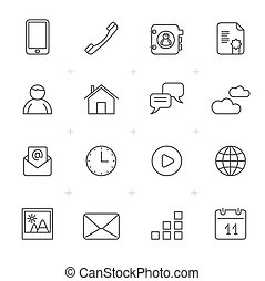 Communication, connection and mobile phone icons