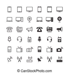 Communication device icons, included normal and enable state.