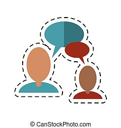 communication-dotted, mensen pratend, toespraak, lijn, bel