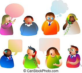 communication - group of people in various forms of...