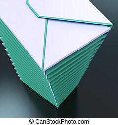communication, entassé, informatique, enveloppes, courrier, outbox, spectacles