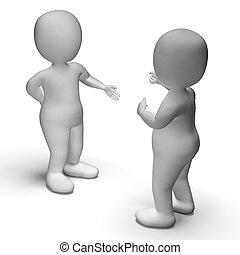communication, entre, spectacles, deux, discussion, caractères, 3d