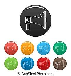 Communication equipment icons set color