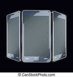 communication, et, mobility:, intelligent, téléphones, à, toucher, écrans, sur, noir, (custom, fait, et, rendered)