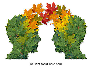 Communication exchange business partnership and teamwork symbol as two human heads made of tree leaves connected together as a symbol of network relationships. and nature cooperation.