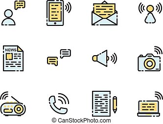 Communication filled outline icon set