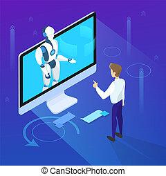 communication, futuriste, computer., virtuel, technology.