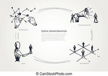 communication, gestion réseau, technologie numérique, concept, transformation, données