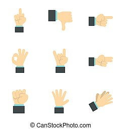 Communication gestures icons set, flat style - Communication...