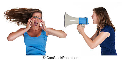 communication - girl shouting into a megaphone to another...