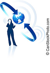 communication, global, femme affaires