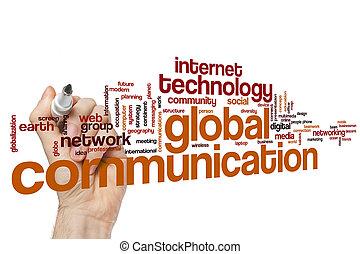 communication, global, mot, nuage