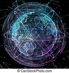 communication, global, orbites