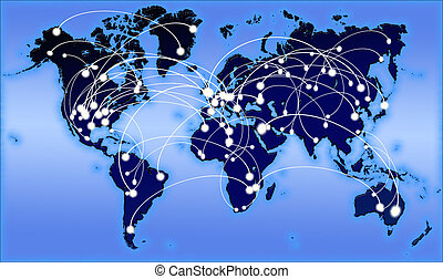 communication, global, planisphère