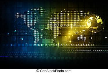 communication, global, technologie