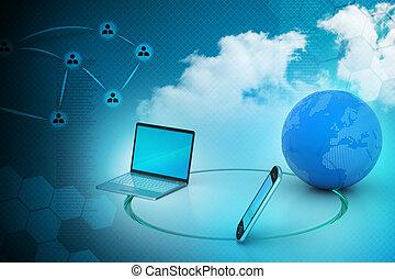 communication globale, concept, réseau, internet