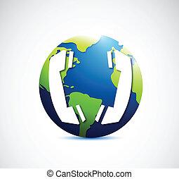 communication globe concept illustration