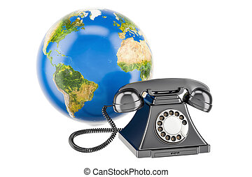 communication, globe global, rendre, téléphone, la terre, concept., 3d