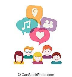 communication, groupe, gens