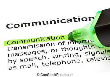 'communication', hervorgehoben, in, grün
