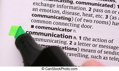 Communication highlighted in green in the dictionary