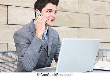 communication, homme affaires