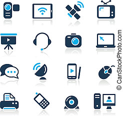 communication, icônes, //, azur, serie