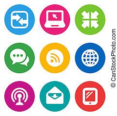 communication, icônes, couleur