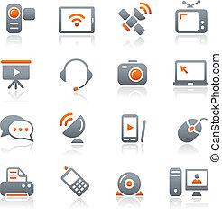 communication, icônes, //, graphite