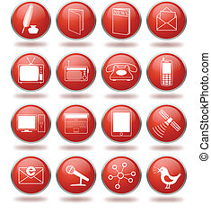 Communication icon set in red spheres - Vector set of...
