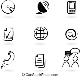 Collection of black and white communication icons - 2