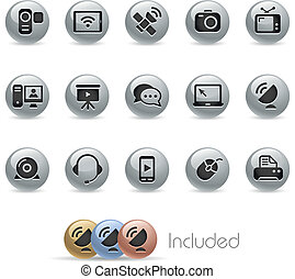 Communication Icons -- Metal Round