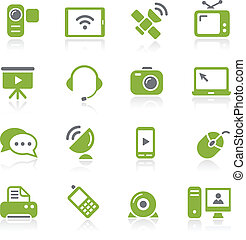 Communication Icons - Natura Series - Green vector icon set...