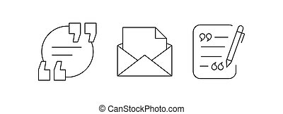 Communication Icons - quote with mail. vector icons set